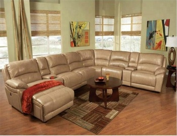Yrs2138 American Style Leather Recliner Sectional Big Round Corner ...