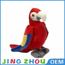 red soft standing plush parrot,talking stuffed animals,stuffed parrot