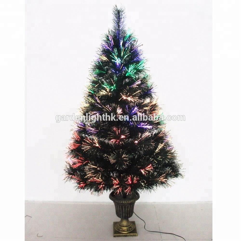 Tailor Made Led Christmas Decor Green Fiber Optic Potted Trees Pre Lit Tree
