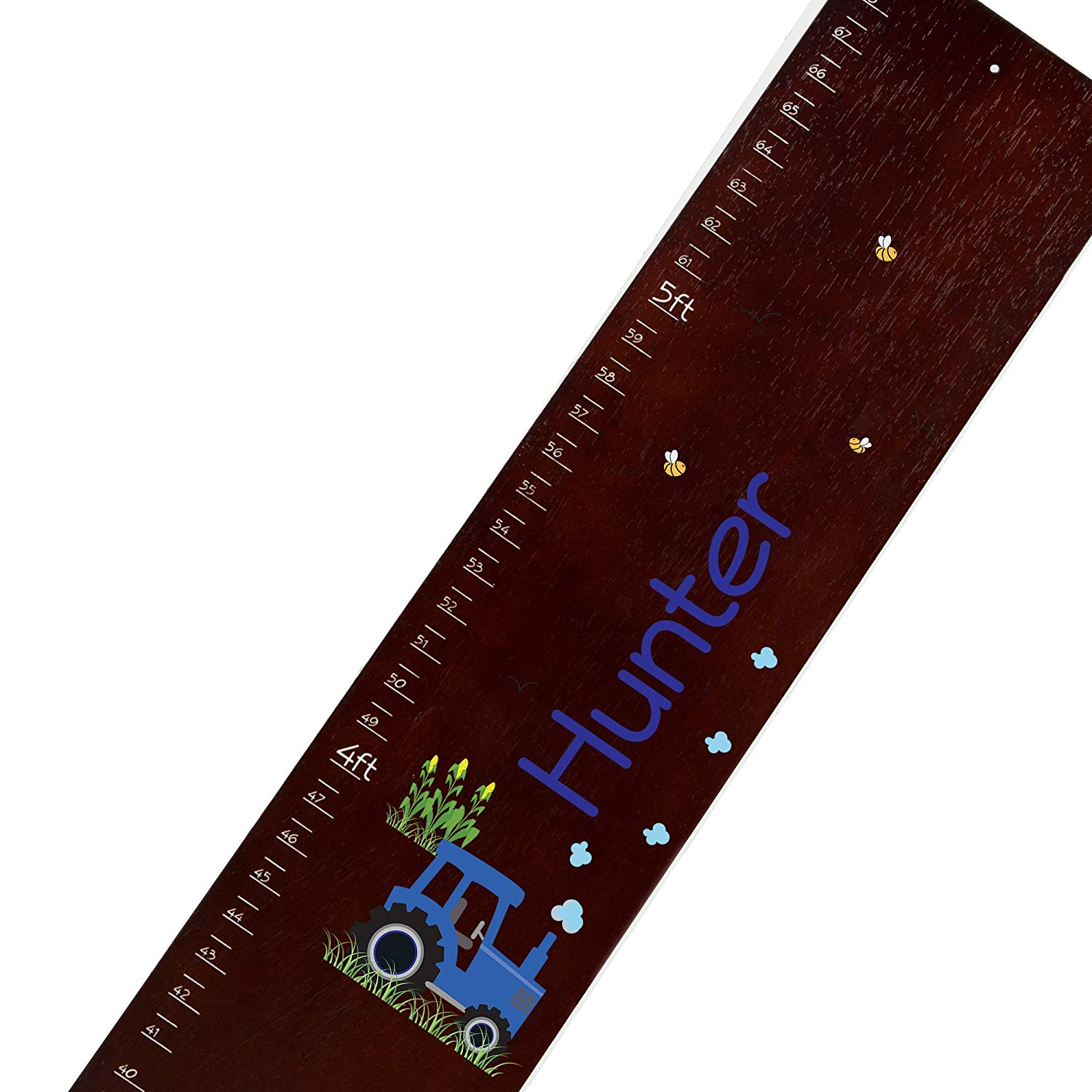 Personalized espresso Blue Tractor childrens wooden growth chart