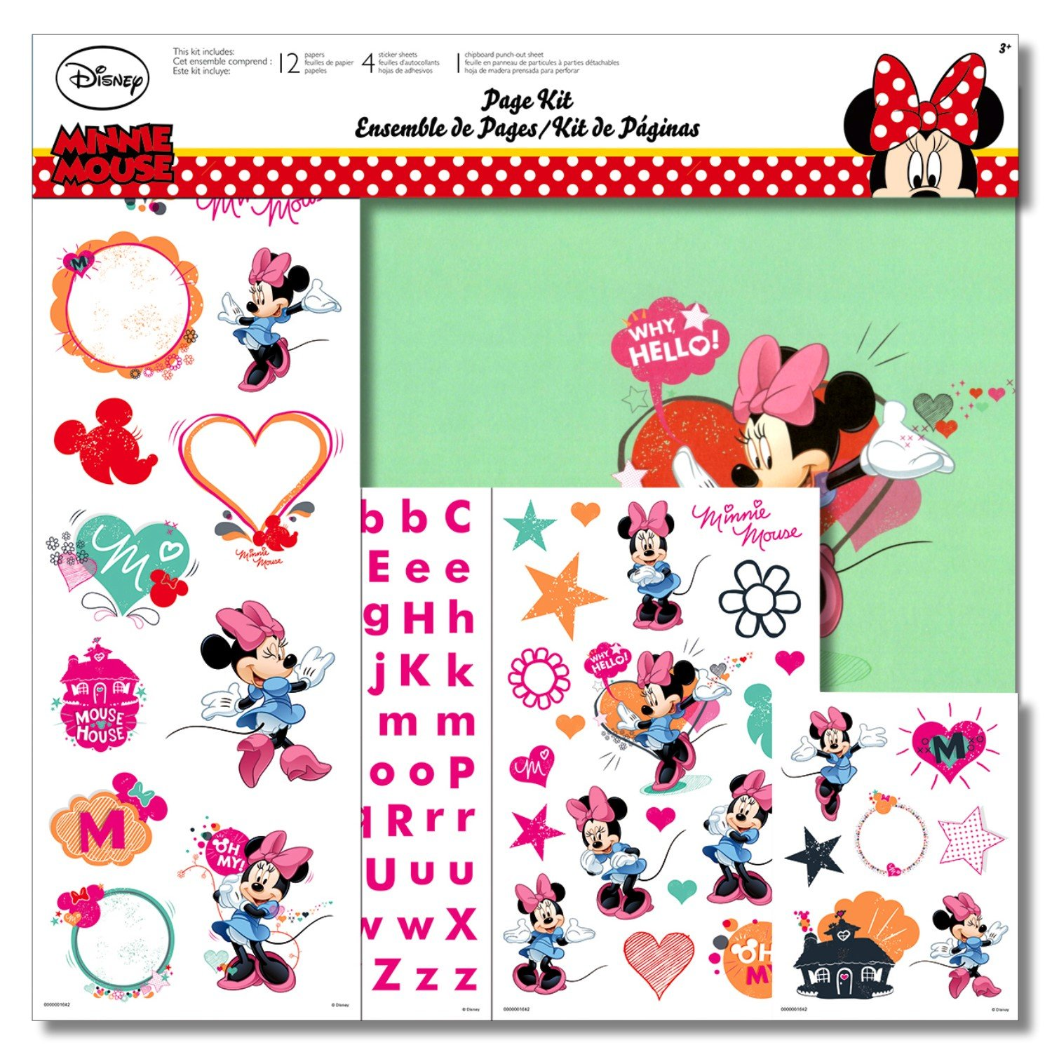 9d8ed52df Get Quotations · Disney Minnie Mouse Scrapbooking Page Kit With Minnie  Mouse Stickers, Minnie Mouse Paper, and