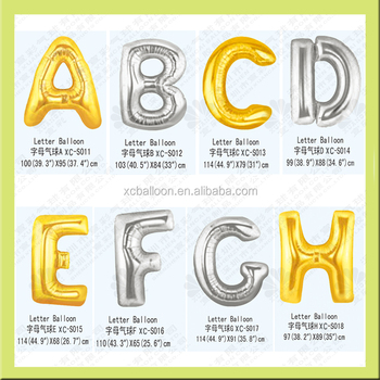 Gold Silver Alphabet Letters Balloons Happy Birthday Party Decoration Aluminum Foil