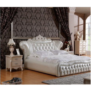 Modern Luxury Royal French Style King Queen Size Cream White Leather Bed  Bedroom Furniture - Buy High Quality White Leather Bed,Cream White Leather  ...