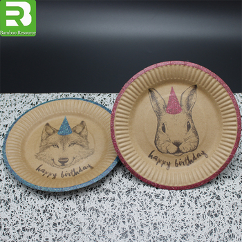 Disposable custom printed round kraft paper plates & Disposable Custom Printed Round Kraft Paper Plates - Buy Kraft Paper ...