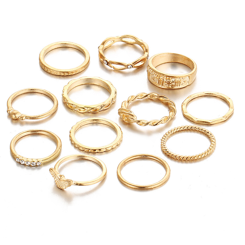 Charm Gold Color Finger Ring Set Punk Bohemian Knuckle Party Eagle Ring