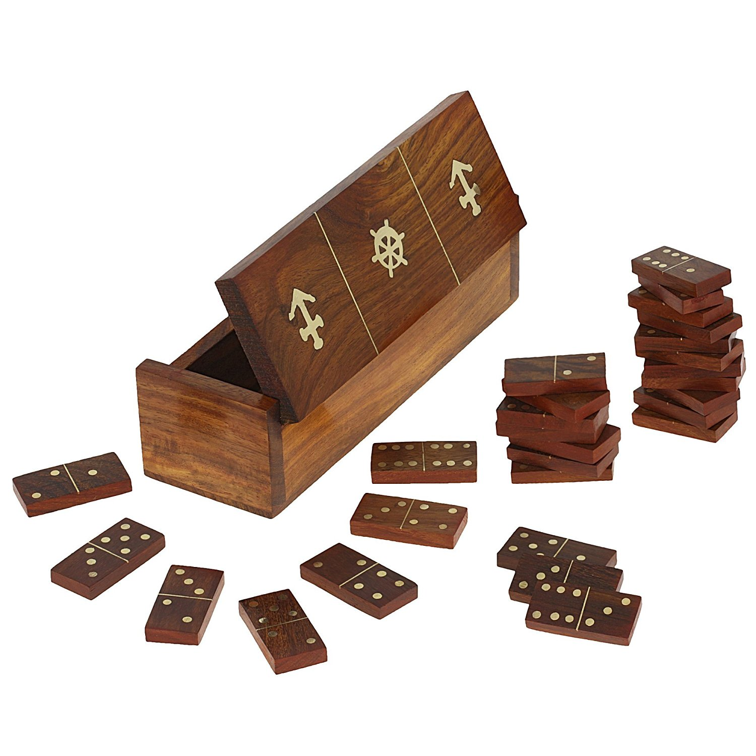 SET OF 6 - Handmade Wooden Domino Game with Nautical Storage Box - Complete Game Set
