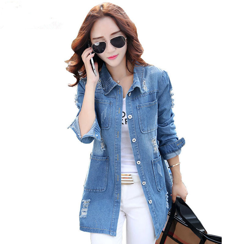 New 2015 Spring Autumn Women Single Breastes Casual Denim Trench Coat Plus Size Ladies Elegant Long Denim Coat with Hole SS15763