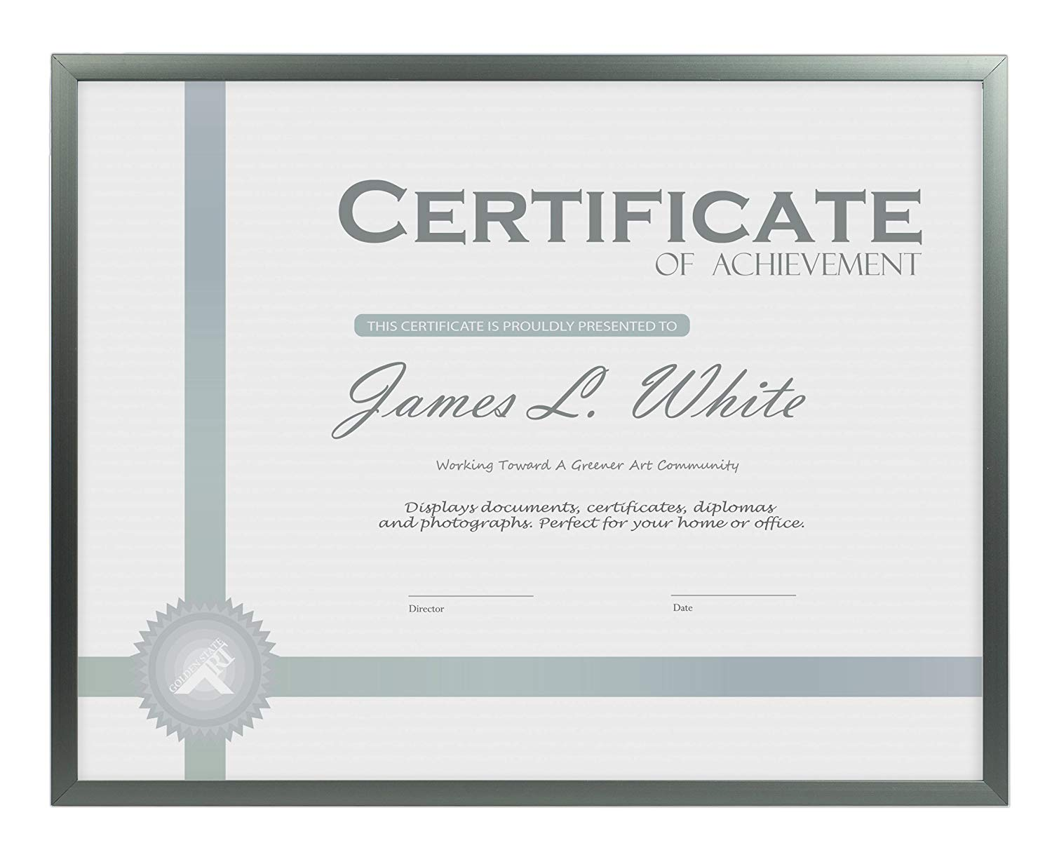 Golden State Art 8.5x11 Dark Grey Aluminum Frame for Certificate/Photo - Easel Stand for Tabletop - Landscape/Portrait - Wall Mounting - Real Glass
