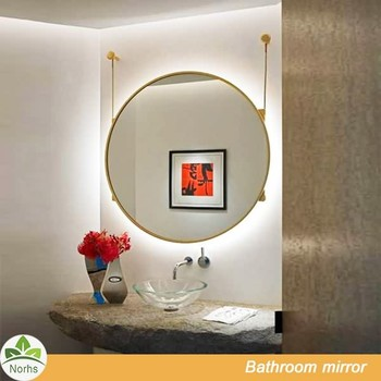 Norhs Contemporary Design Hanging Large Round Mirror With Led Backlit For Bedroom And Bathroom Vanity Wood Frame Wooden