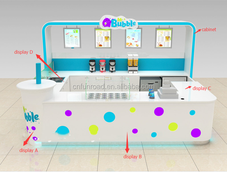 China factory shopping mall indoor bubble tea kiosk design 3D plan