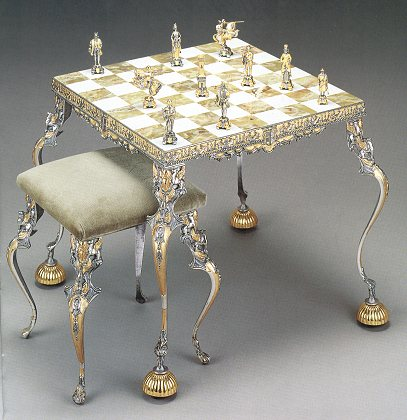 Medieval Onix Chess Table With Stool And Chess Sets