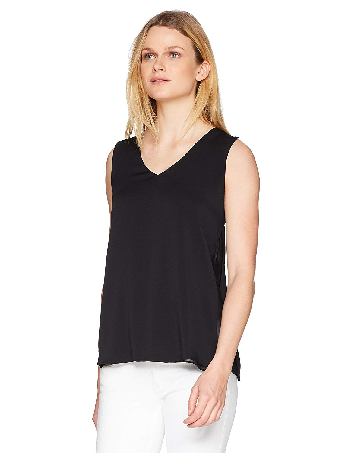 Get Quotations · Halston Heritage Women s Sleeveless V Neck Silk Top with  Sheer Inserts 481eb1edf