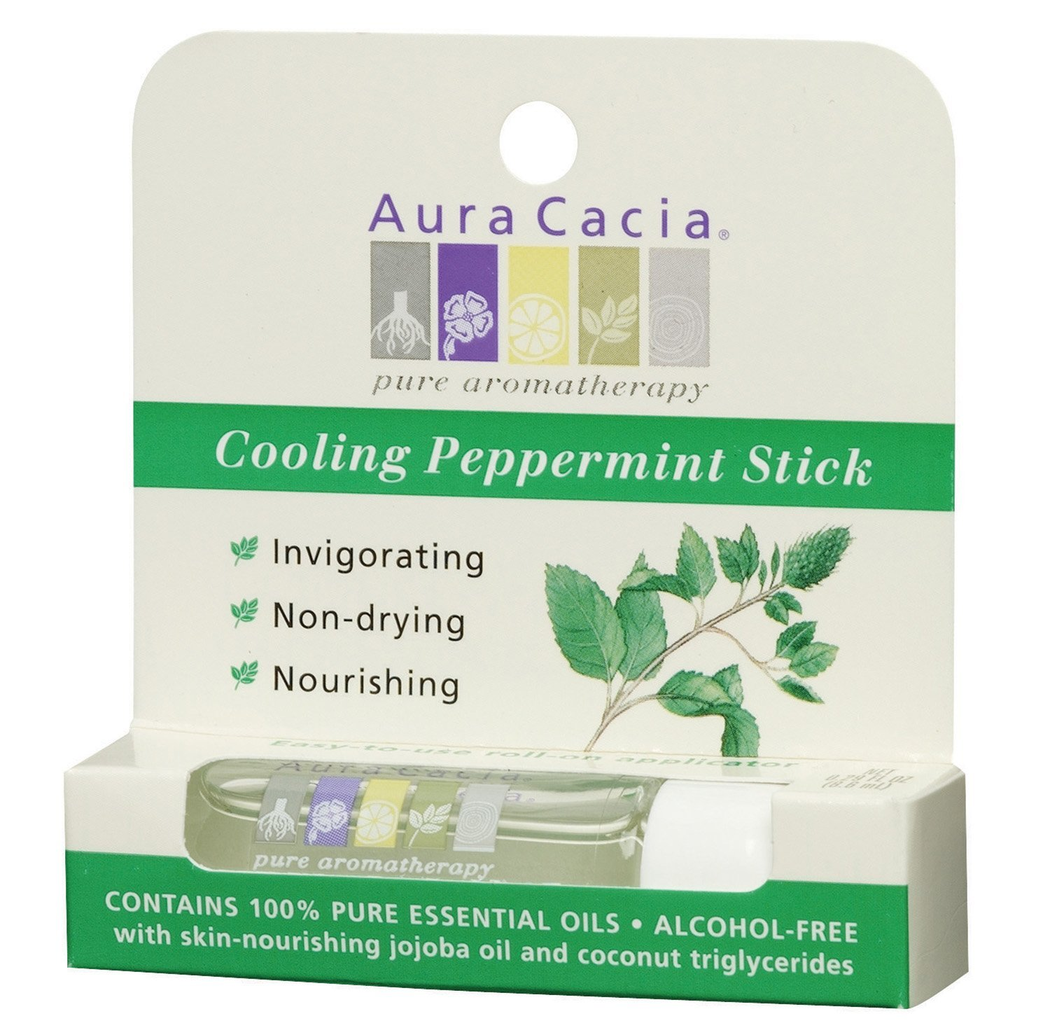 Aura Cacia Aromatherapy Roll-On Stick, Cooling Peppermint, 0.29 Fluid Ounce (Pack of 3)