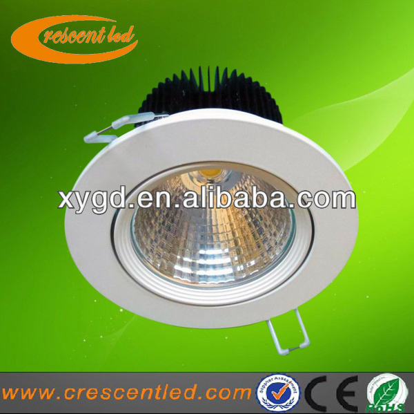 heat dissipation plastic 12w cob led downlight with frosted glass lens