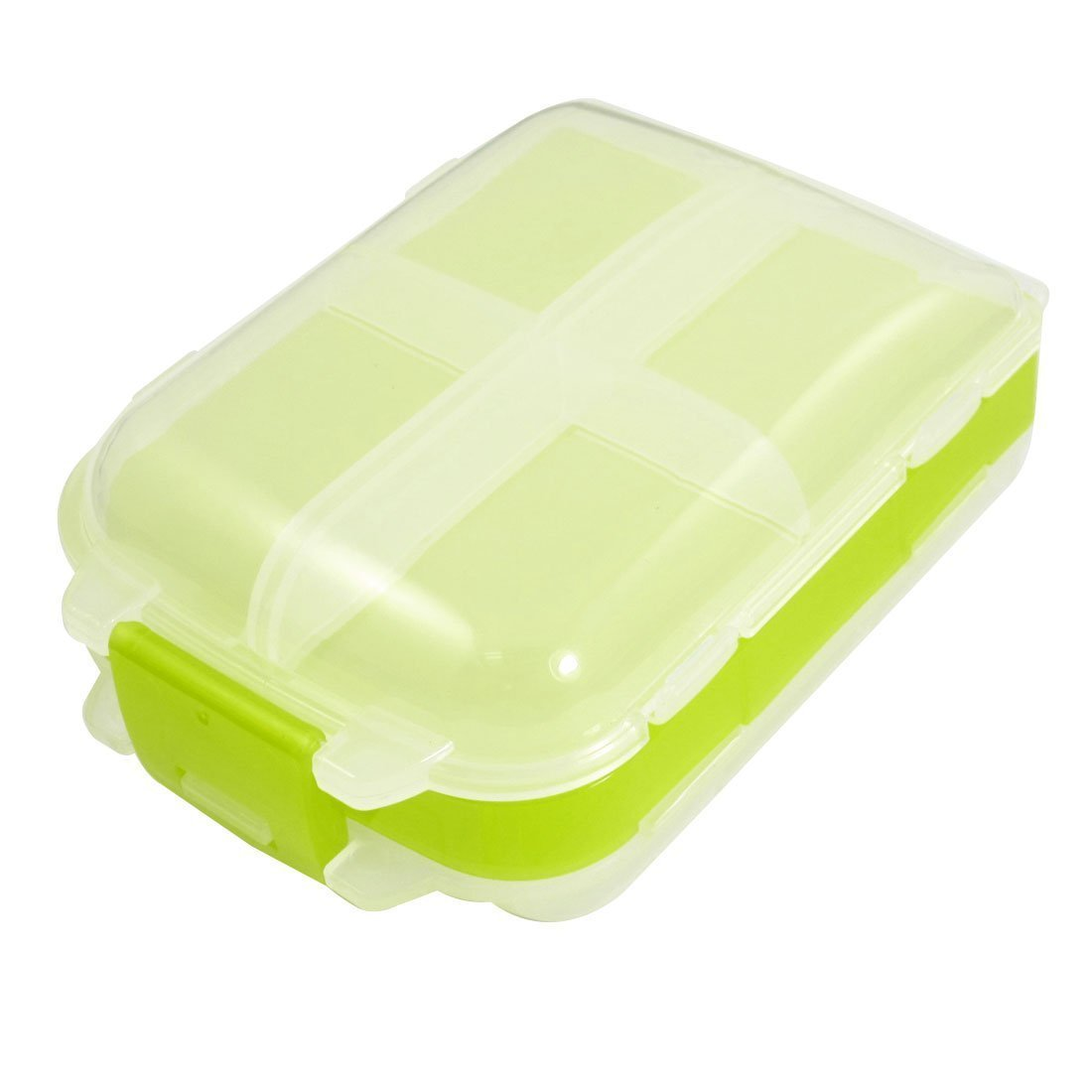 uxcell Plastic 8 Compartments Jewelry Electronic Components Case Clear White Green