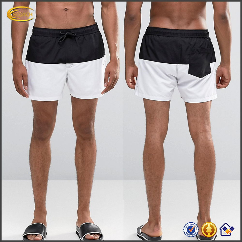 100 polyester black and white contrast short length shorts 2016 casual breathable mesh lining swim shorts with side pockets