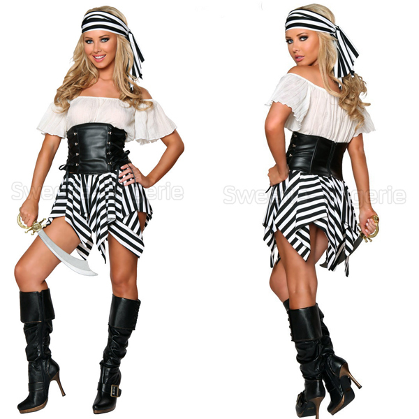 Buy Sexy Women Pirate Costumes Women Halloween Sexy Costumes Female White And Black Striped Irregular Dress Costume Pirate Woman in Cheap Price on ...  sc 1 st  Alibaba : womens halloween pirate costumes  - Germanpascual.Com