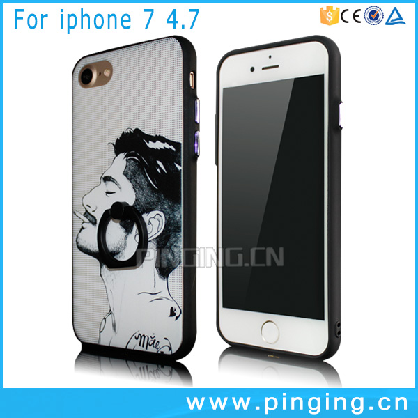 Manufacturer wholesale electroplating buttons design painted pattern ring holder phone cases for iphone 7