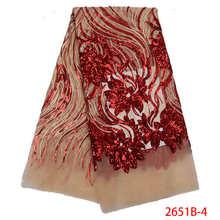 2020 Высококачественная африканская кружевная ткань с блестками, французская сетчатая вышитая фатиновая кружевная ткань для нигерийского с...(Китай)