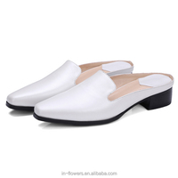 Customized pearl white genuine leather material mules shoes women high heels mules
