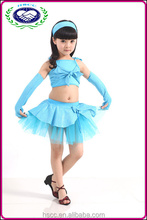 Azul color de mayor venta infantil traje de la danza latina