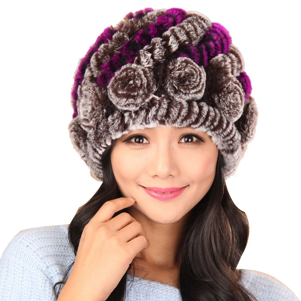 afb62db9f7f Get Quotations · Roses Hats Rex Rabbit Fur Knit Beanie Hats Bubble Hats  with Flower Multicolor