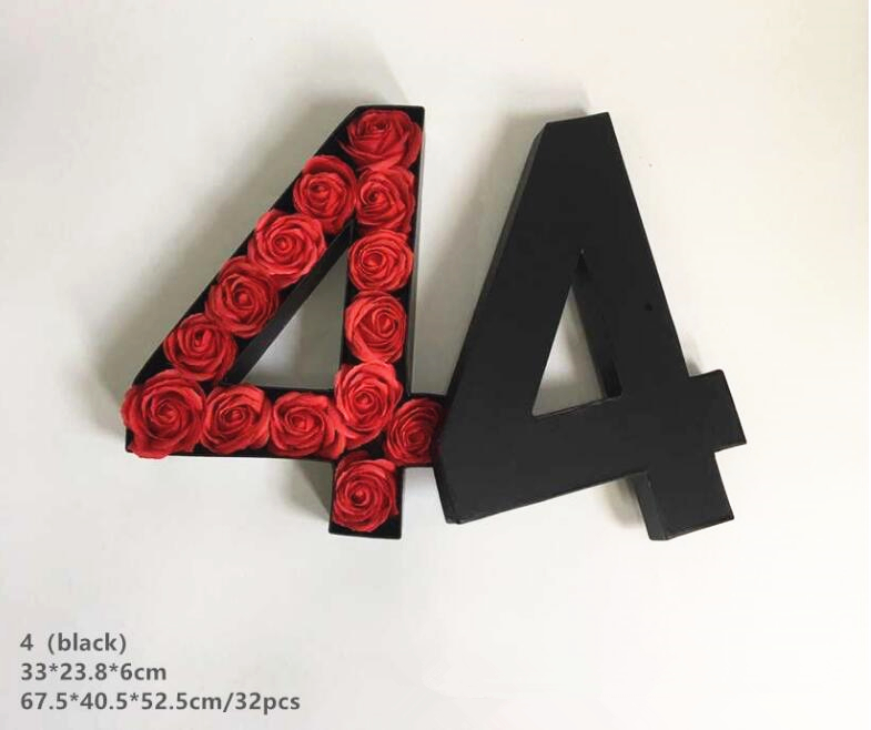 Custom Arabic numerals 0-9 shaped flower box gift packaging,number rose boxes
