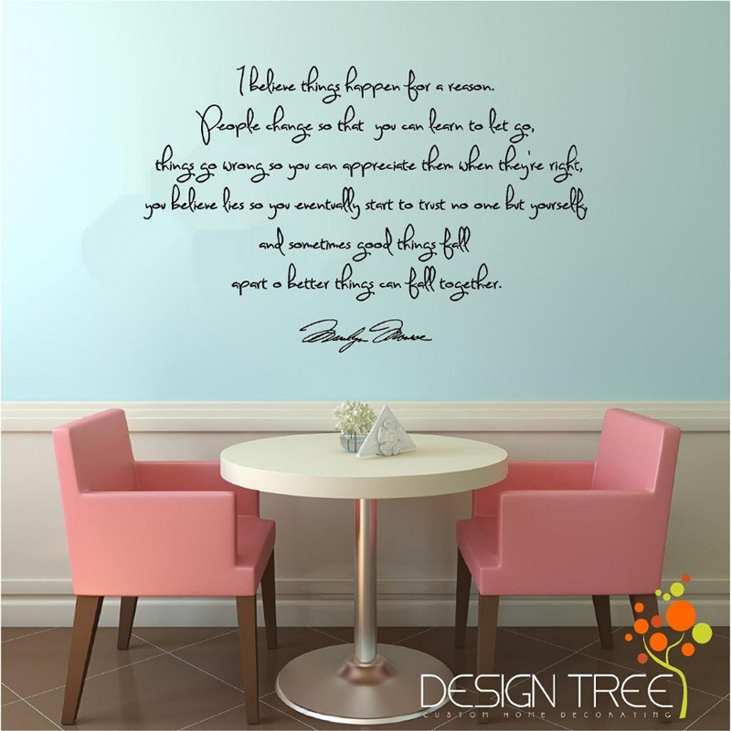 I Believe things happen Marilyn Monroe Inspirational Quote Wall Decal Home Decoration
