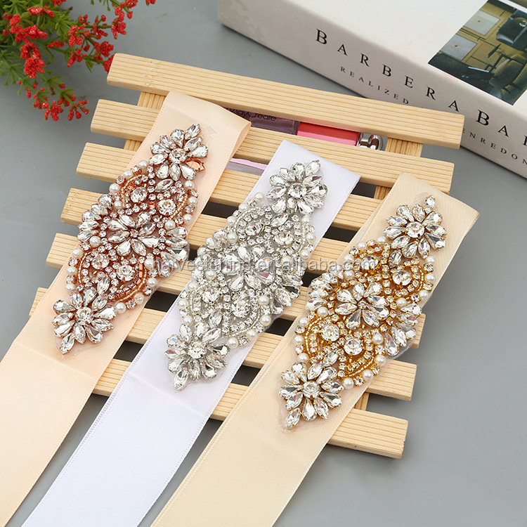 wholesale crystal bridal sash applique,bride decorative belt for wedding dress