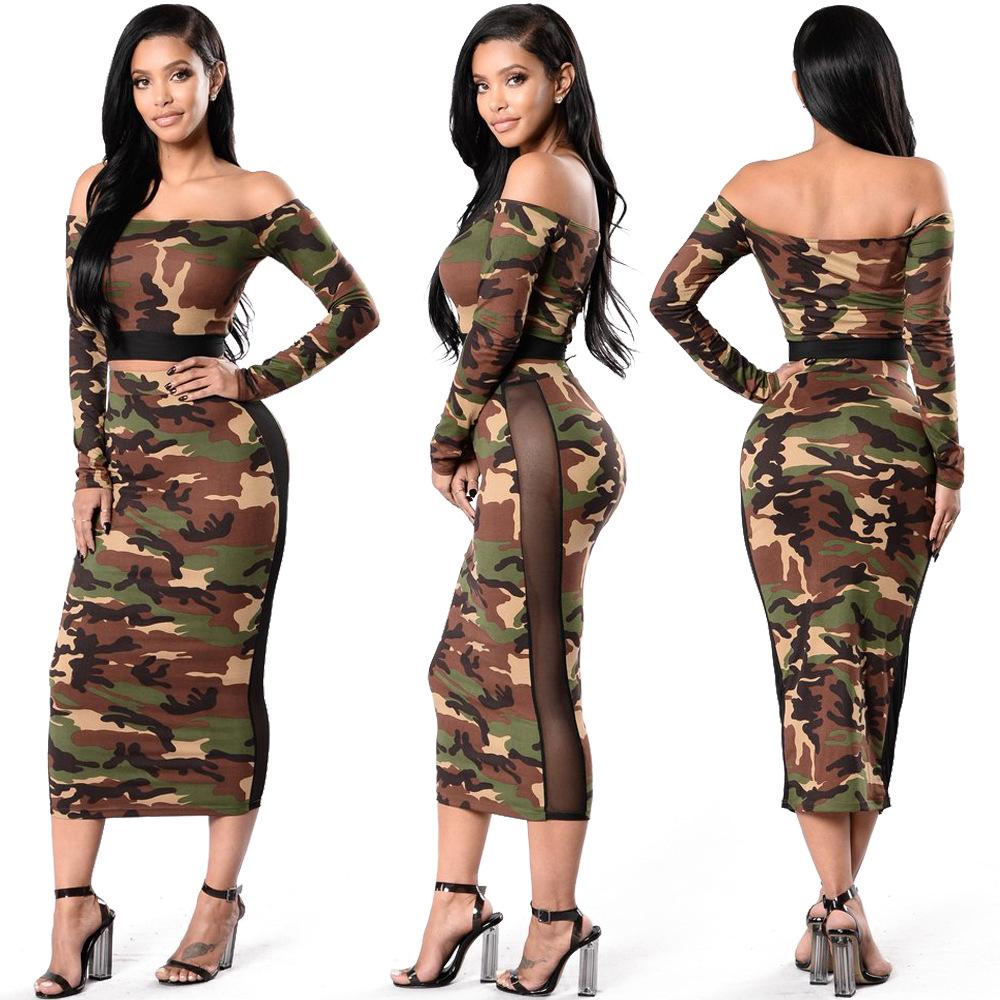0f31c5ddea Sexy europeo y americano camuflaje uno-hombro falda tradicional africana  vestido