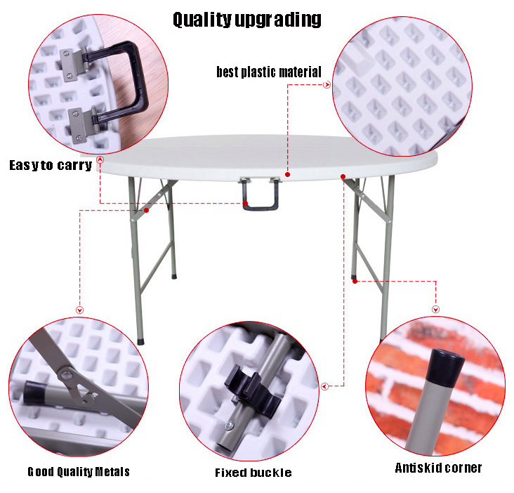 Rectangle aluminum and plastic party folding dinning table foldable table