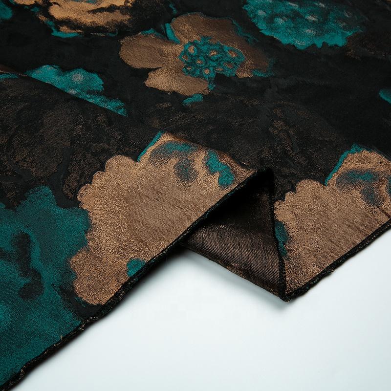 JBS141 2019 HOT SELL women dresses graphic designing polyester metallic brocade jacquard fabric