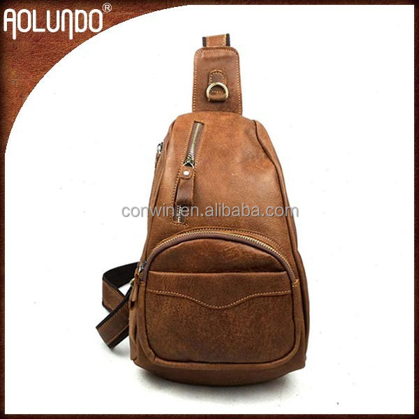 Fashion brown sports leather backpack with one strap