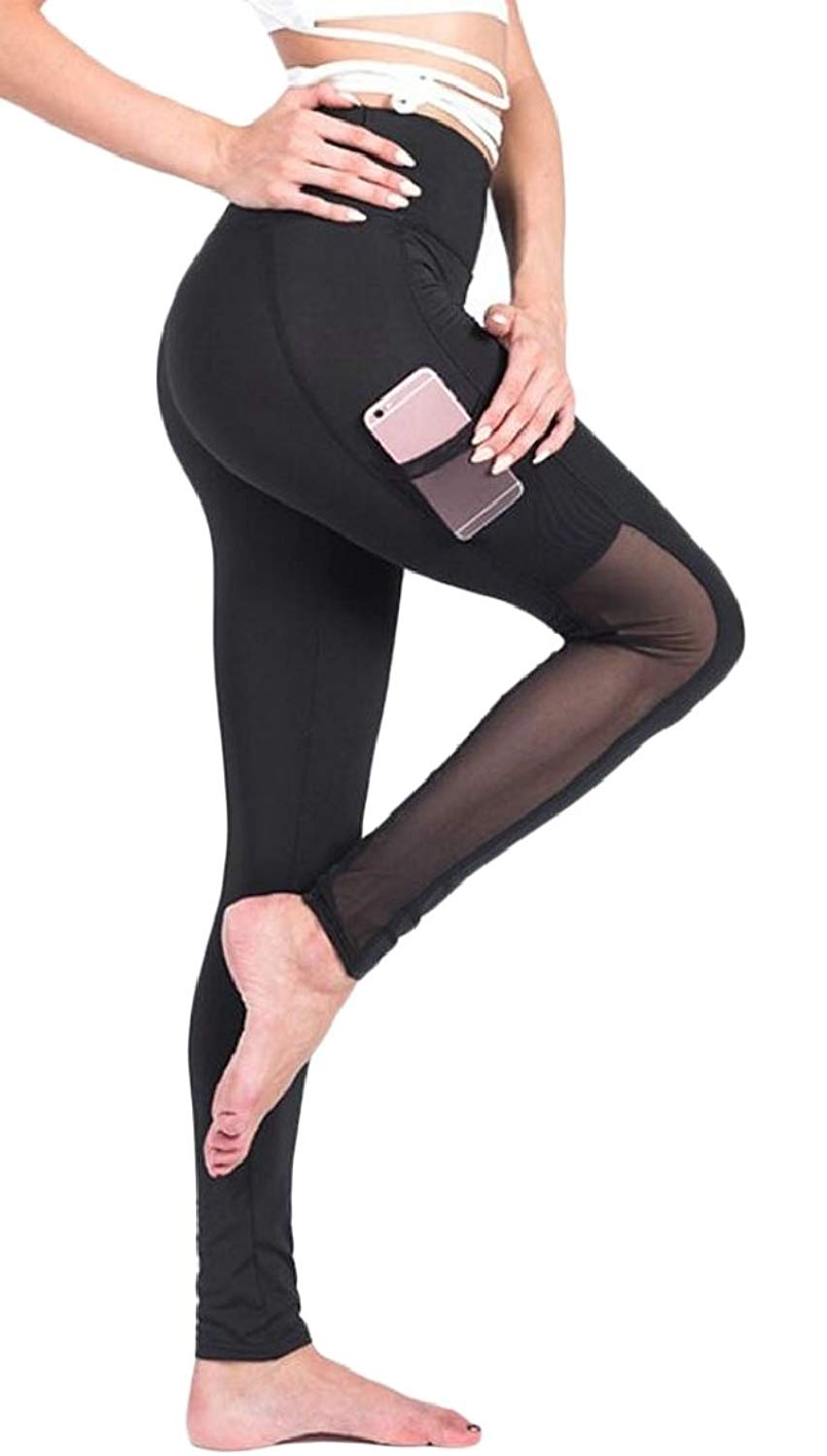 ouxiuli Women's Yoga Pants Fashion Workout Running Leggings High Waist Yoga Pants with Pocket