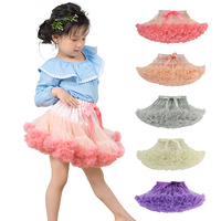W1901 Buenos Ninos Girls Fluffy 2-18 Years Chiffon Pettiskirt Solid Colors tutu skirts girl Dance Skirt Christmas Tulle