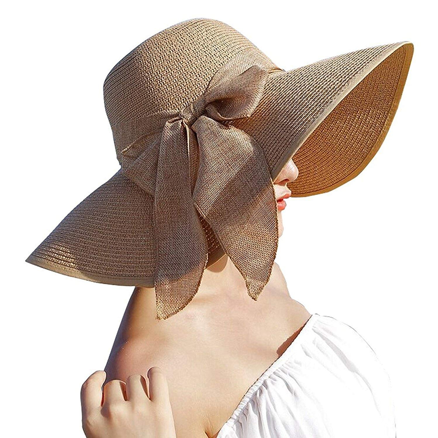 b11fa15d Get Quotations · Xuzirui Bowknot Casual Straw Women Summer Hats Big Wide  Brim Beach Hat
