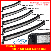 120W 22 inch 180W 32 inch 240W 42 inch 288W 50 inch 300W 52 inch LED Light Bar with CREES Curvred 5D Beam Combo Led Work Light
