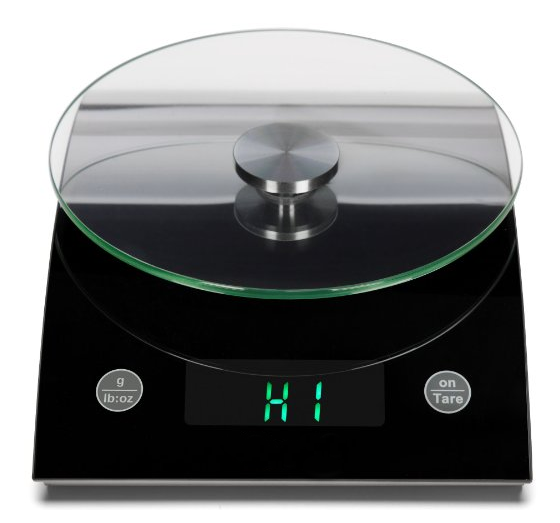 LED Kitchen Scale with Removable Glass Weighing Platform 18-Pound Black NV-K703A