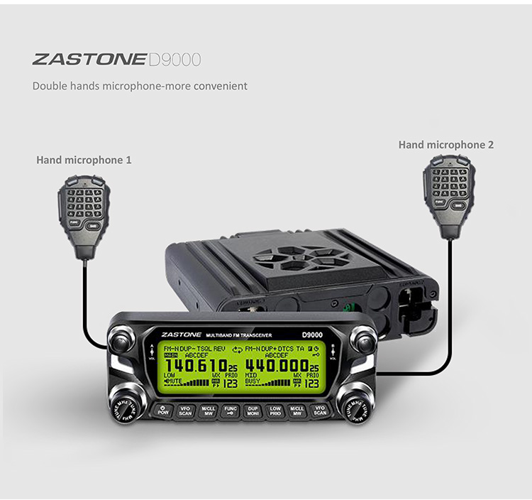 New launch radio ham with repeater function ZASTONE D9000 50W dual band ham mobile radio with air band receive