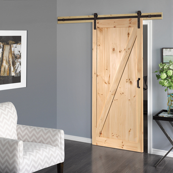 Solid Core Z Frame Soft Close Pine Barn Interior Door Slab With Hardware Kit