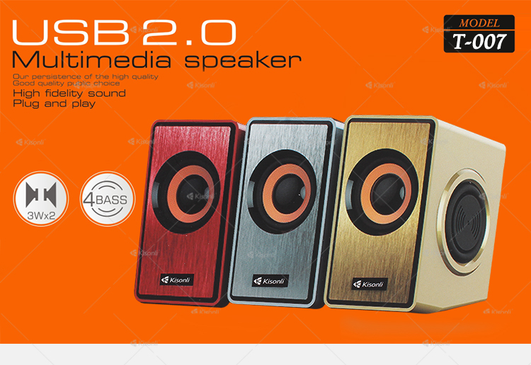 Kisonli Portable Mini Computer Multimedia Woofer Mid Bass USB 2.0 Speaker