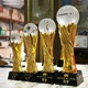 2018 NEW Design laser engraved awards and medals crysta glass ball resin trophy for Oscar World Cup