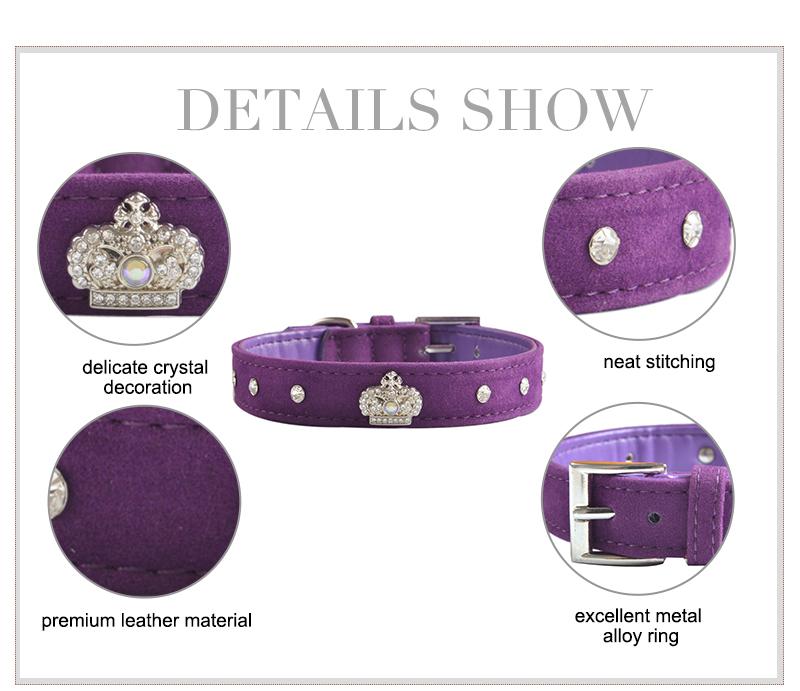 Coleira de Cachorro moda Pet Rhinestone Crown Suave Velvet Reunindo