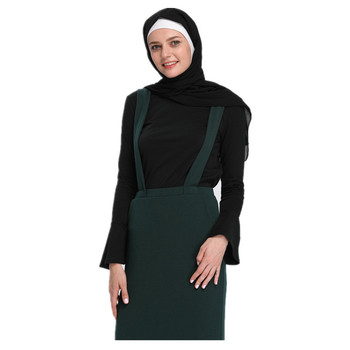 2018 New Style Black Wholesale Dubai Muslim Blouse Undercoat with Bell Sleeves