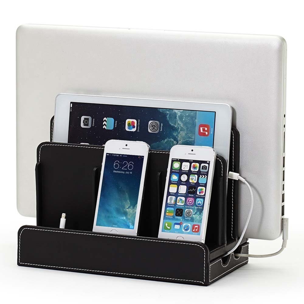 10dd30932e89 Hot Selling PU Leather charge box station charging station valet organizer  for desk