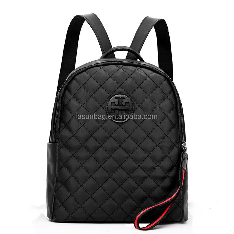 2018 último diseño de marca de las niñas de Nylon negro adolescentes  mochilas c22599ffcd312