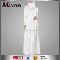 Muslim White Abaya Sliver Trim Hajj Umrah Basic Abaya Long Sleeve Maxi Dress