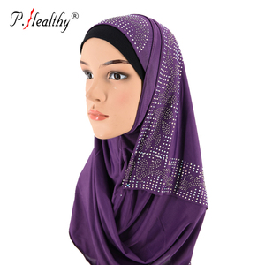 Top seller dubai wholesale muslim stretch lycra jersey instant hijabs with stones