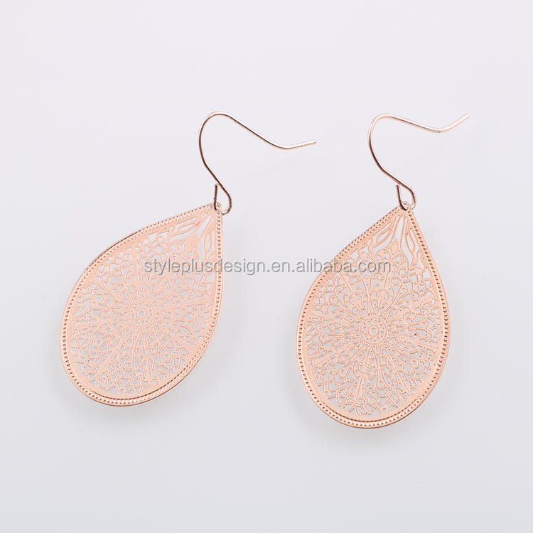 E00114U01 Oval shape rose gold plated thin hollow out texture vintage copper drops earrings