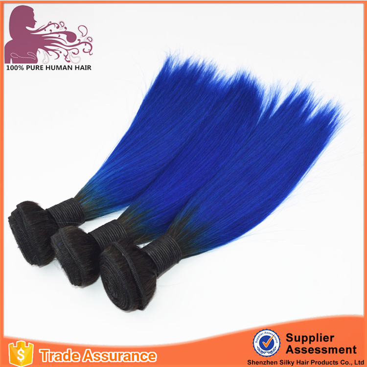 free shipping Aliexpress silky straight ombre two tone 1B <strong>black</strong> and blue virgin brazilian remy human hair